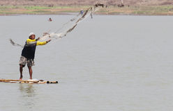 A fishermen using nets for fishing in reservoirs lalung Sukoharj Stock Photo