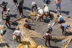 Fishermen in Varkala, India. Indian Fishermen dividing the catch at the beach of Varkala, India Royalty Free Stock Photos
