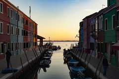 Fishermen village of Burano, Venice Italy Stock Images
