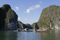 Fishermen village in Ha Long Bay Stock Photos