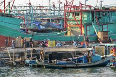 Fishermen village Jakarta. Muara Angke fishermen village in North Jakarta Royalty Free Stock Photos