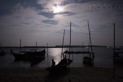 Fishermen village on moonlight at hat Yao, Trang, Thailand Stock Image
