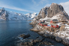 Fishermen village in Norway. Fishermen village with red houses Royalty Free Stock Photography