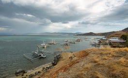 Fishermen village in tropical Seraya Island Stock Images