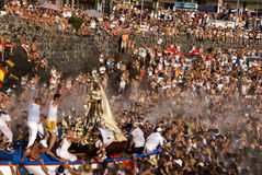 Fishermen and Virgen del Carmen 2. Fishermen hold celebrations in honour of their patron saint, La Virgen del Carmen in Puerto de la Cruz (Tenerife, Spain) 2008 Stock Image