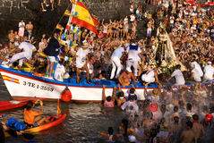 Fishermen and Virgen del Carmen Stock Photography