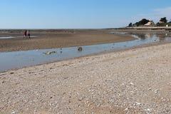 Fishermen are walking on the beach in La Bernerie-en-Retz (France) Royalty Free Stock Photo