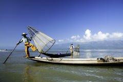 Fishermen on water Royalty Free Stock Image