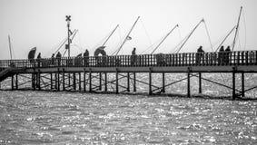 Fishermen on the wharf royalty free stock photos