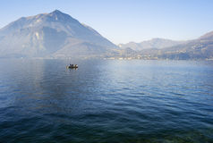 Fishermen on a winter lake water. Color image Royalty Free Stock Photography