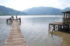 Fishermen on the wooden dock, Serbia Royalty Free Stock Images