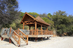 Fishermen wooden pavilion at sandy beach Stock Photography