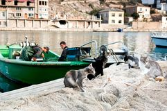 Fishermen are working on the boat Royalty Free Stock Image
