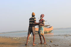Fishermen Working. Royalty Free Stock Photo