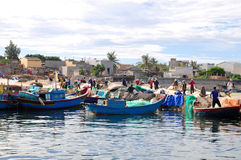Fishermen are working in a seaport at Ly Son island Royalty Free Stock Photo