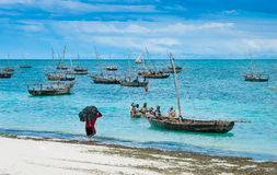 Fishermen on Zanzibar Island royalty free stock photo