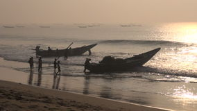Fishermens and boats silhouette  in Bengal bay,India stock video footage