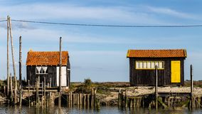 Fishermens huts in the the port of La Tremblade royalty free stock photo