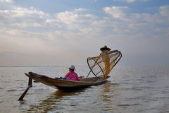 Fishermens at Inle lake Royalty Free Stock Image