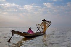 Fishermens nel lago Inle Immagine Stock Libera da Diritti