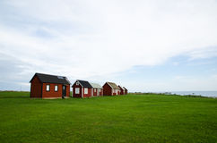 Fishermens old red cabins Stock Photo
