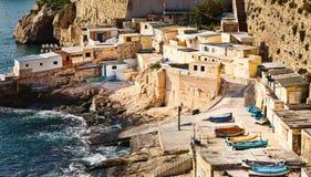fishermens valletta της Μάλτας καλυβών στοκ εικόνα