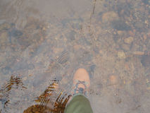 Fishermens wading shoe on the river bottom Royalty Free Stock Photos
