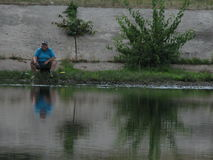 Fishermna in Kyiv Stock Photo