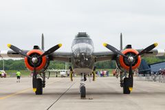 The Fishers Airshow. Fishers, Indiana, USA - June 6, 2015: Fishers Airshow, B-25 Mitchell On the tarmac during the airshow royalty free stock photo