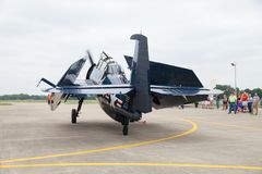 The Fishers Airshow. Fishers, Indiana, USA - June 6, 2015: Fishers Airshow, TBF Avenger On the tarmac during the airshow royalty free stock image