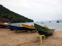 Fishers boats in picinguaba in Sao Paulo State. Fishers boats on Picinguaba Beach in Sao Paulo State. Green coast stock photos