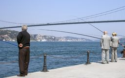 Fishers of Bosphorus, Istanbul royalty free stock photo