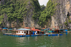 Fishers houses in Halong Bay, Vietnam Royalty Free Stock Images
