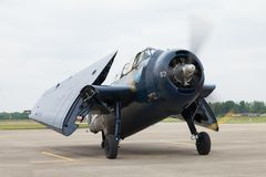 The Fishers Airshow. Fishers, Indiana, USA - June 6, 2015: Fishers Airshow, TBF Avenger On the tarmac during the airshow stock image