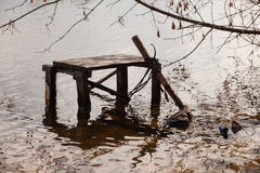 Fishers table. In the river Dnieper Stock Images