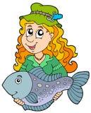 Fisherwoman che tiene i grandi pesci Immagine Stock Libera da Diritti