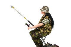 Fisherwoman fishing stock photography