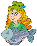 Fisherwoman holding big fish. Illustration Royalty Free Stock Image