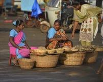 Fisherwoman selling Dries fish at harne Jetty,Dapoli,Ratnagiri,Maharashtra. India,Asian stock photography