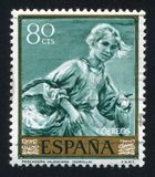Fisherwoman of Valencia by Joaquin Sorolla. SPAIN - CIRCA 1964: stamp printed by Spain, shows Fisherwoman of Valencia by Joaquin Sorolla, circa 1964 Royalty Free Stock Images
