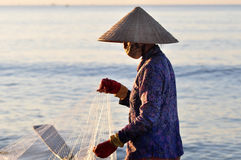 fisherwoman vietnam Arkivbilder