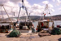 Fishery. Fishing boats in the harbour of Koper in Slovania Royalty Free Stock Images