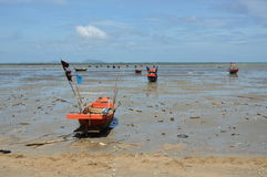 Fishery boat on the beach Stock Image