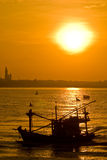 Fishery boat over sea port in Thailand Royalty Free Stock Image