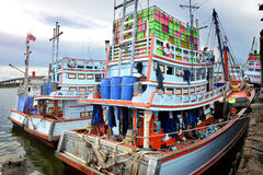 Fishery boats're mooring at the harbour Royalty Free Stock Photography