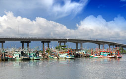 Fishery boats're mooring at the harbour Stock Image