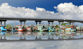 Fishery boats're mooring at the harbour Royalty Free Stock Images