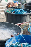 Fishery equipment in fisherman's wharf. In french riviera Royalty Free Stock Images