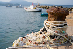 Fishery harbor with boats Stock Image