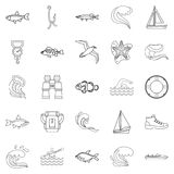 Fishery icons set, outline style. Fishery icons set. Outline set of 25 fishery vector icons for web isolated on white background Royalty Free Stock Image